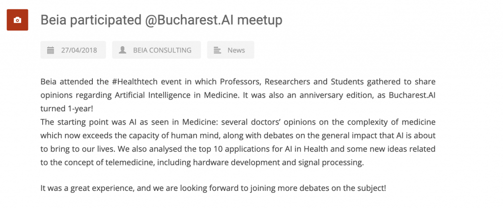 Beia participated at Bucharest AI meetup