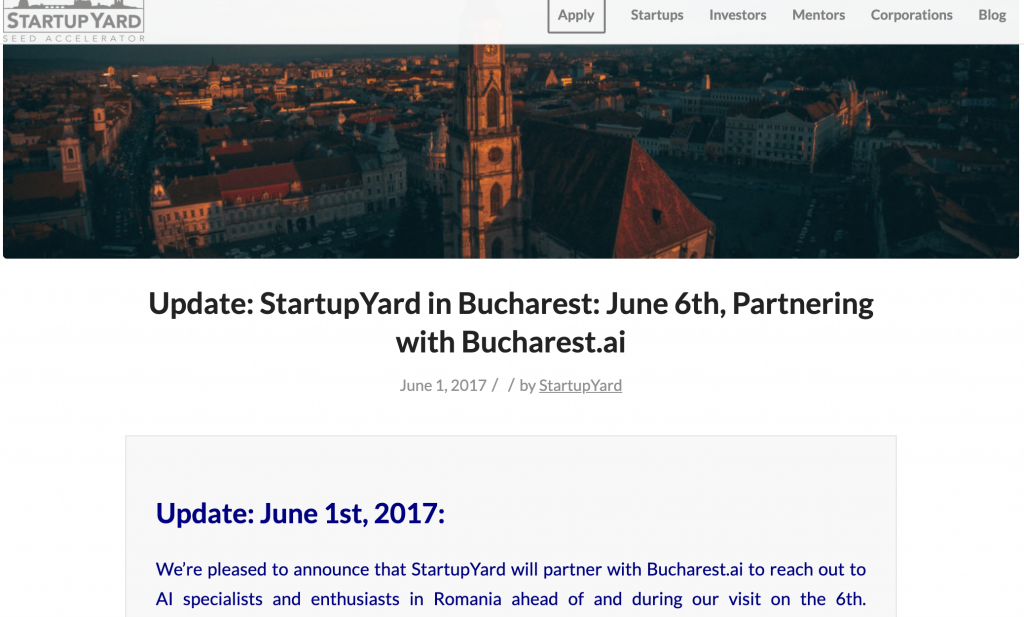 Startup Yard partner with Bucharest AI